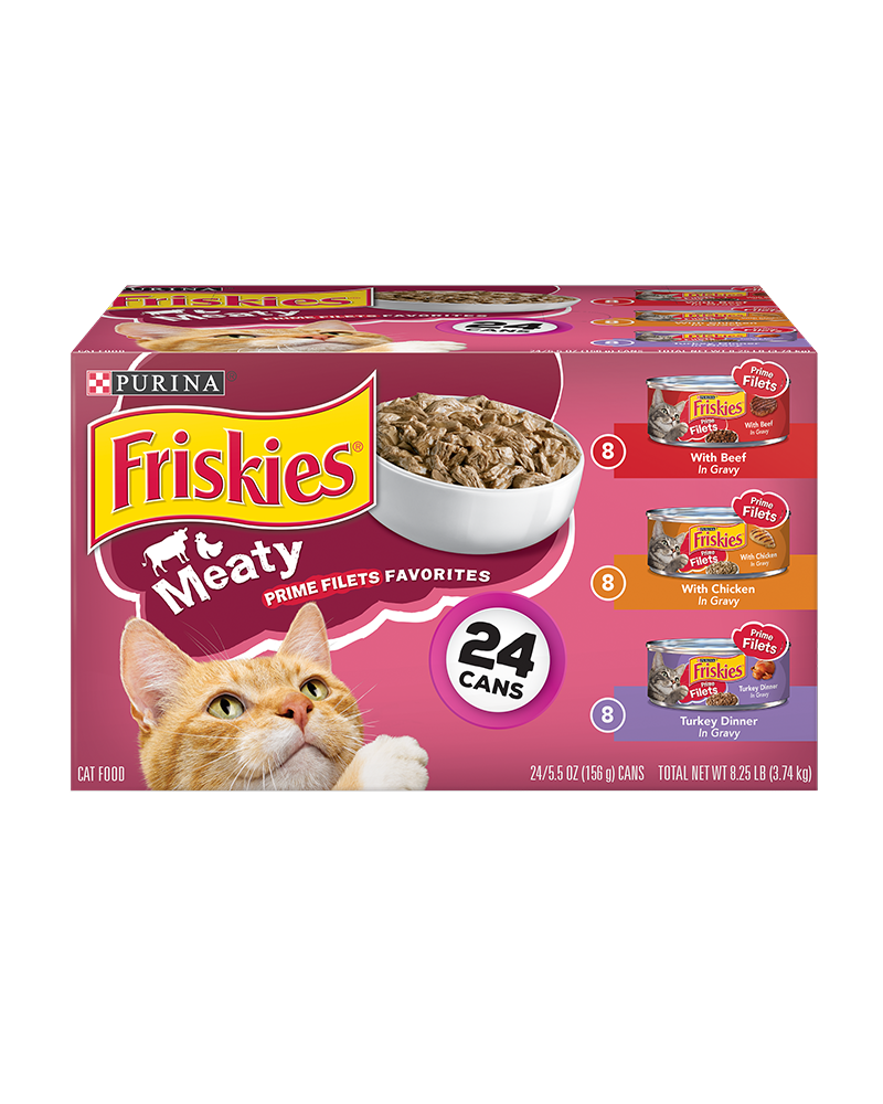 Friskies Meaty Prime Filets Favorites Wet Cat Food Variety Pack 24 Count
