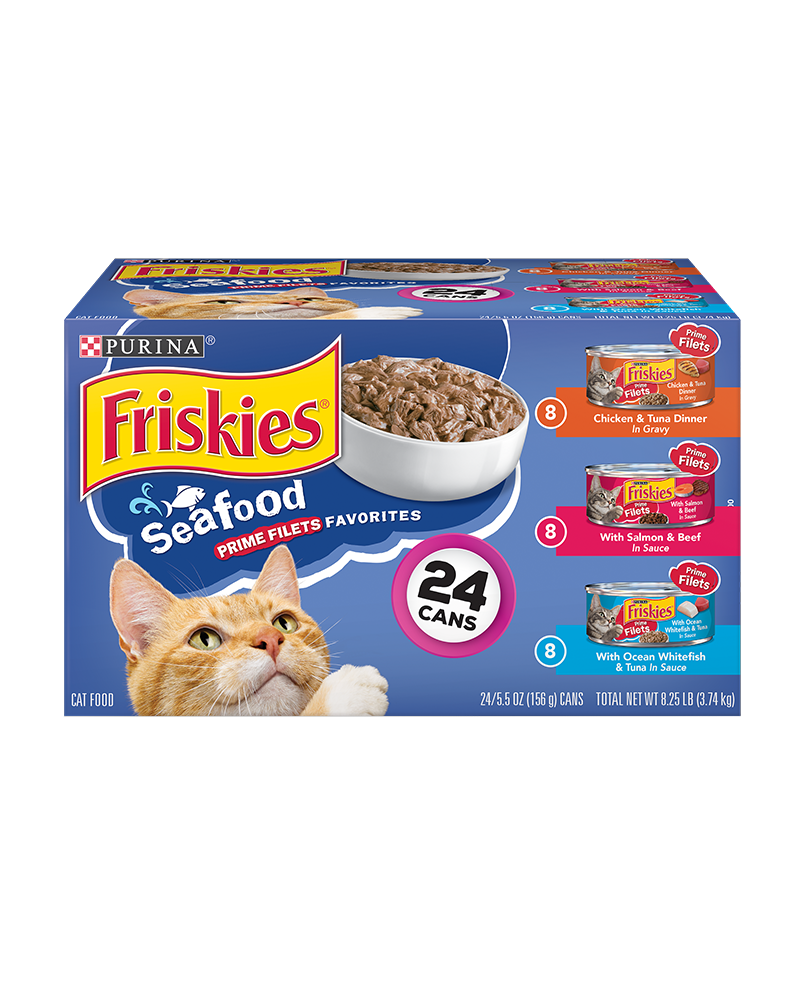 Friskies Seafood Prime Filets Favorites Wet Cat Food Variety Pack 24 Count
