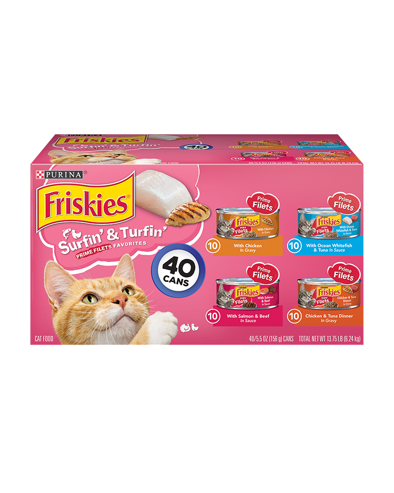 Friskies Surfin & Turfin Prime Filets Favorites Wet Cat Food Variety Pack 40 Count