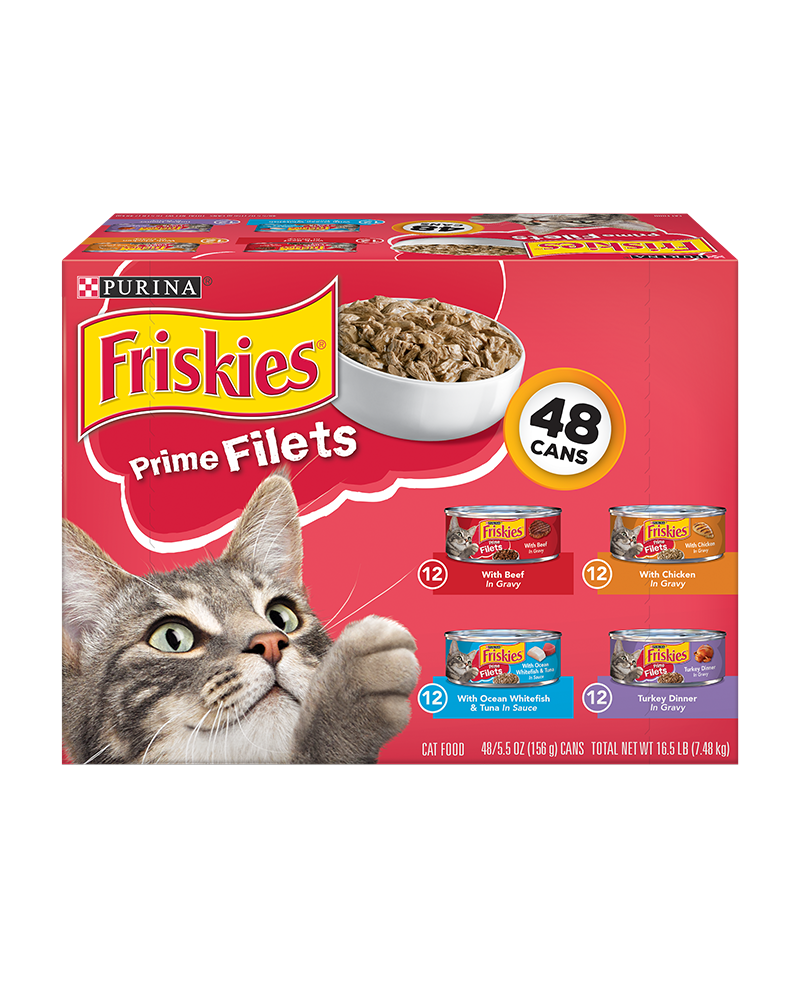 Friskies Prime Filets Wet Cat Food Variety Pack 48 Count