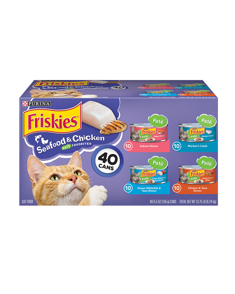 Friskies Seafood & Chicken Pate Favorites Wet Cat Food Variety Pack 40 Count