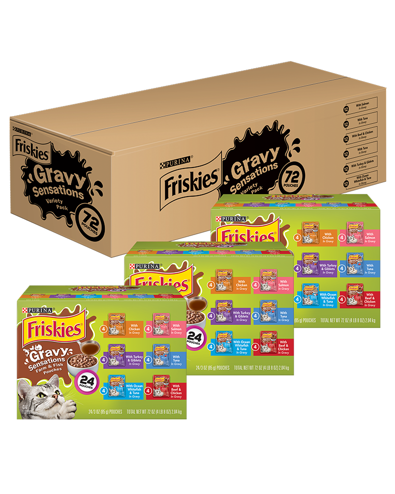 Friskies Gravy Sensations Pouches Wet Cat Food Variety Pack 72 Count