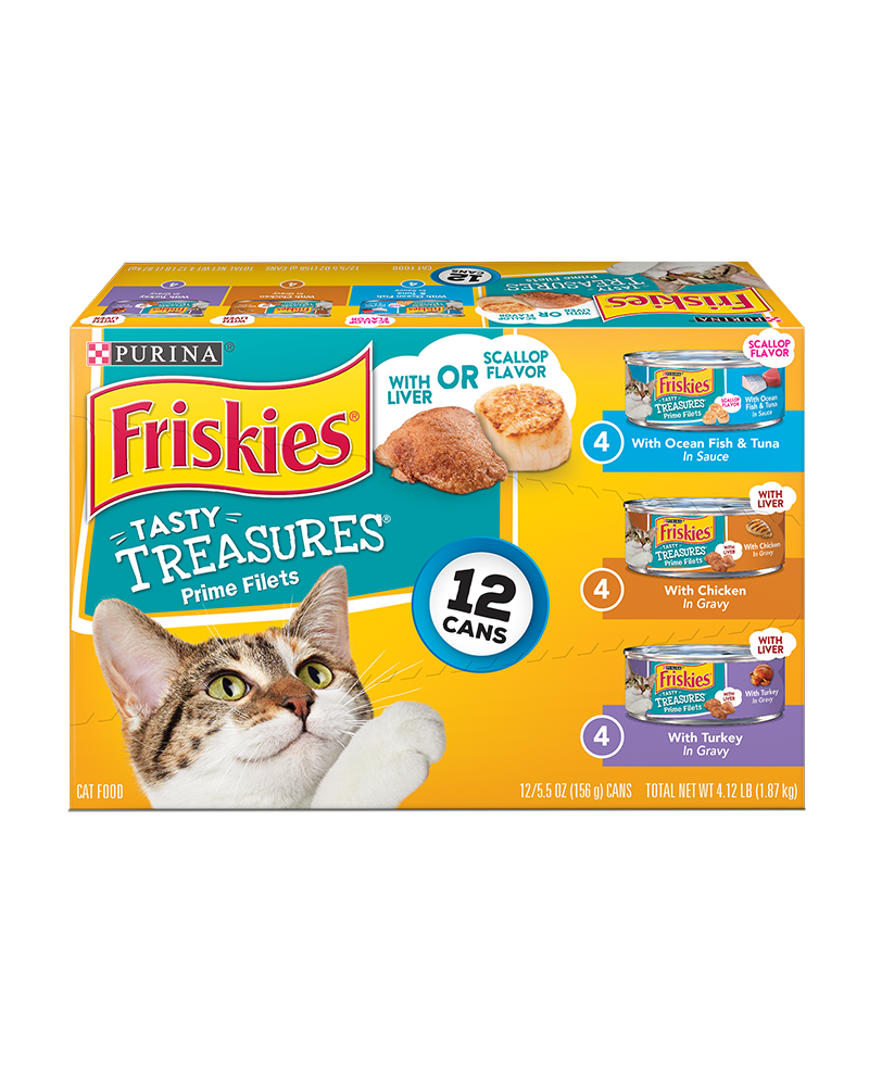 Friskies Tasty Treasures Wet Cat Food Variety Pack 12 Count