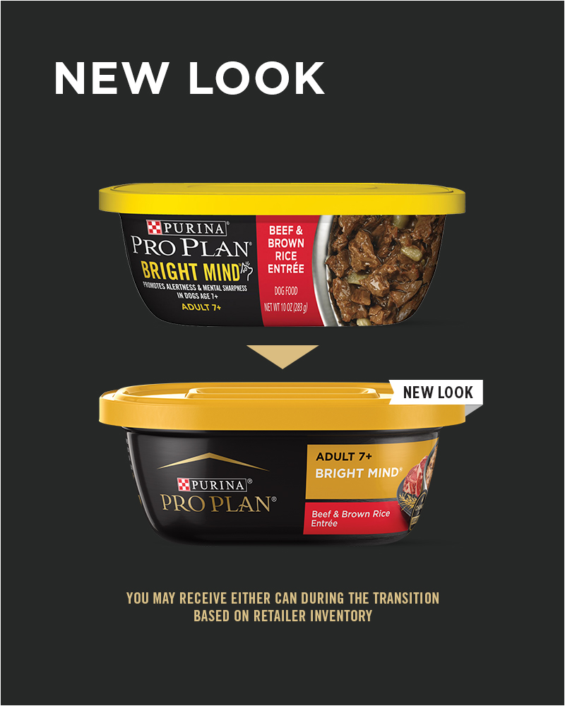 New Look Purina Pro Plan BRIGHT MIND Adult 7+ Beef & Brown Rice Entrée Wet Dog Food