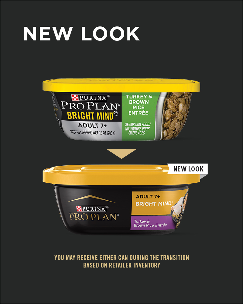 New Look Purina Pro Plan BRIGHT MIND Adult 7+ Turkey & Brown Rice Entrée Wet Dog Food