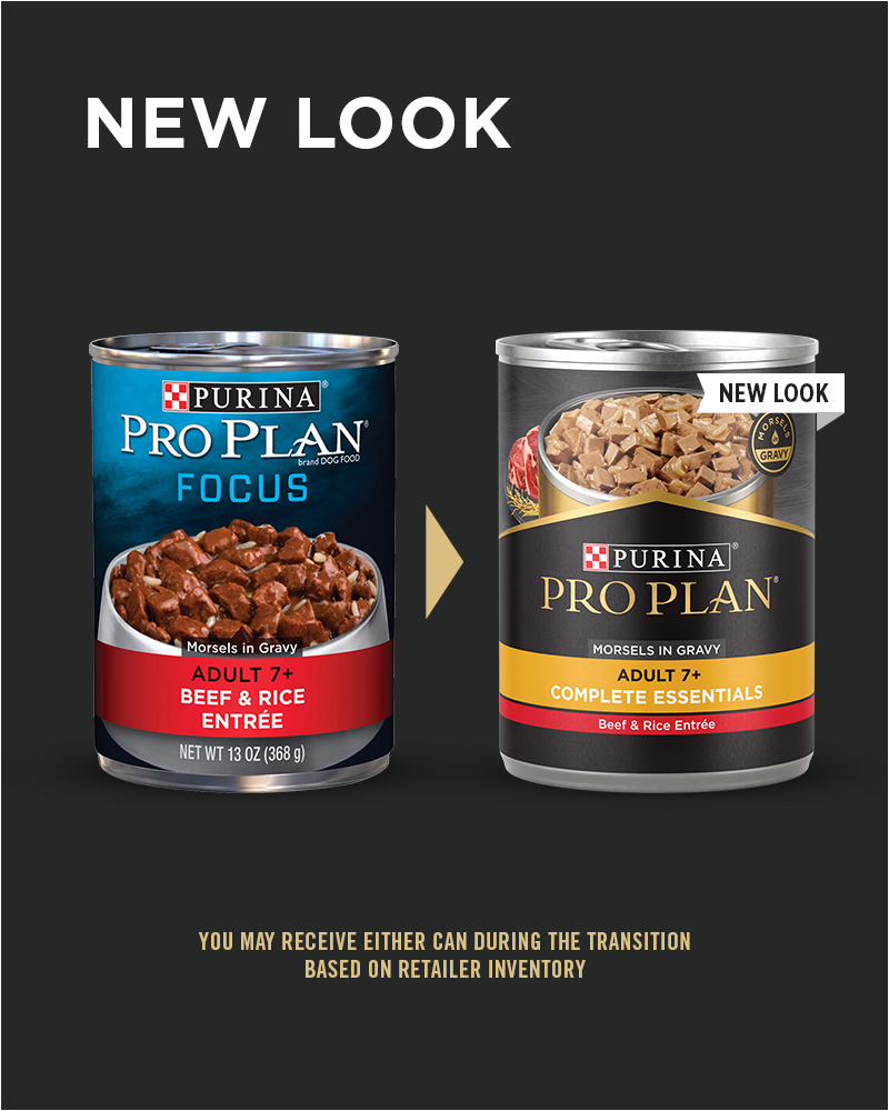 New Look Pro Plan Senior Adult 7+ Beef & Rice Entrée Morsels in Gravy Wet Dog Food