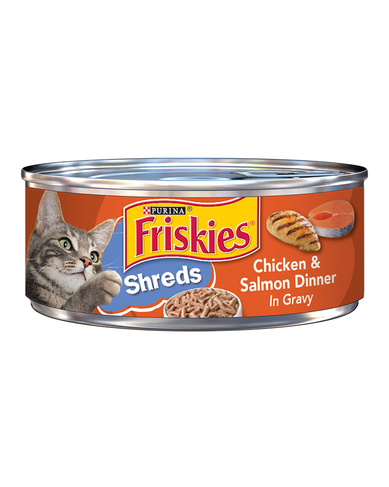 Friskies Savory Shreds Chicken and Salmon Dinner in Gravy