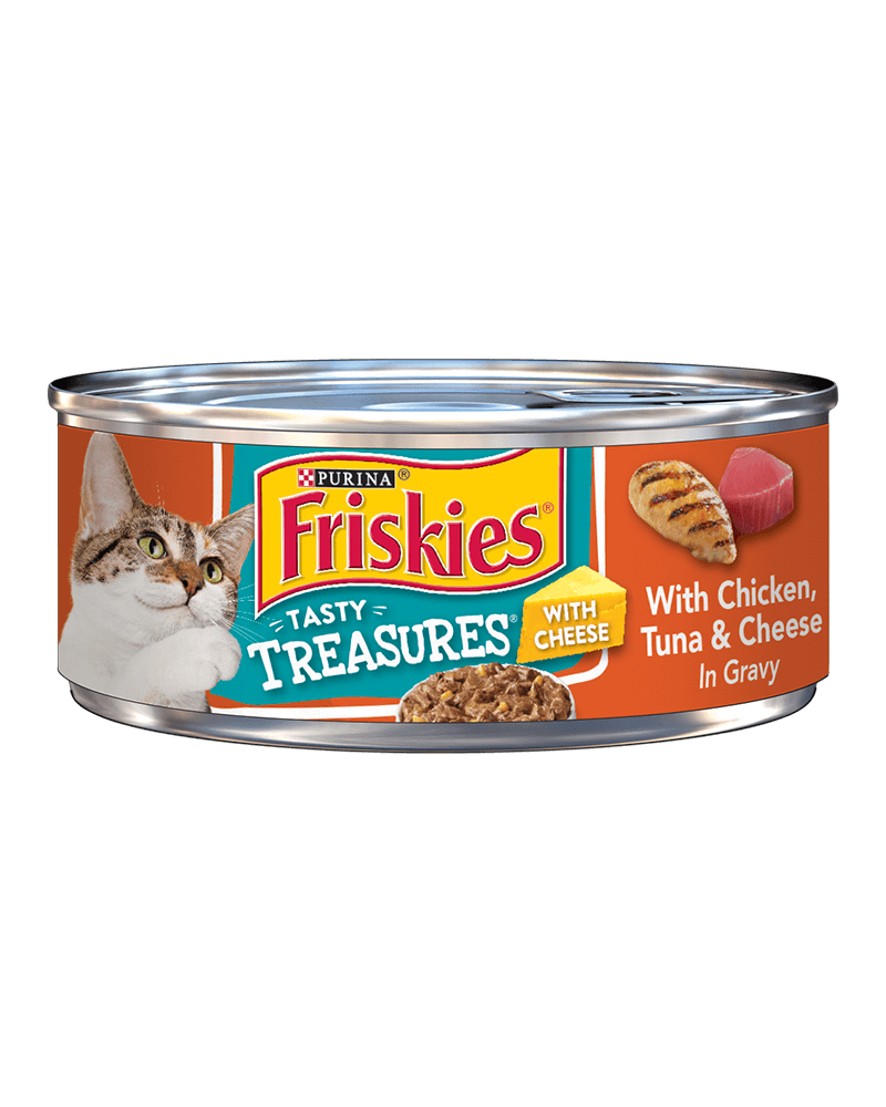 Friskies Tasty Treasures® With Chicken Tuna and Cheese in Gravy