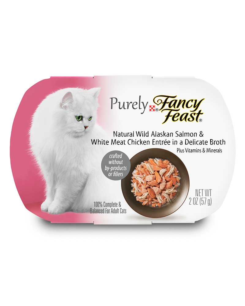 Fancy Feast Purely Natural Steamed Wild Alaskan Salmon & White Meat Chicken Entree in a Delicate Broth
