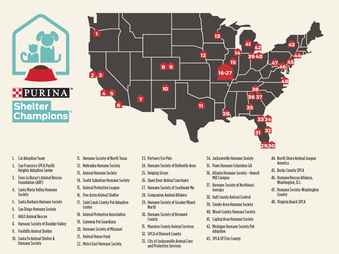 Purina Shelter Partner Map
