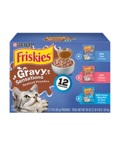 Friskies Gravy Sensations Seafood Pouches Wet Cat Food Variety Pack 12 Count