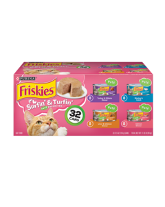Friskies Surfin & Turfin Pate Favorites Wet Cat Food Variety Pack 32 Count