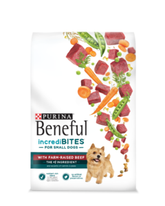 Beneful incredibites with farm raised beef for small dogs packaging
