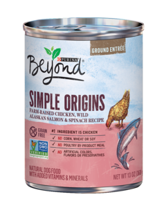 Simple Origins Grain Free Free-Range Chicken, Wild Alaskan Salmon & Spinach Recipe Ground Entree Dog Food