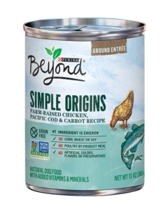 Beyond Simple Origins Grain Free Free-Range Chicken, Pacific Cod & Carrot Recipe Ground Entree Dog Food