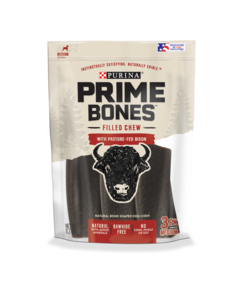 Prime Bones Rawhide-Free Medium Dog Filled Chew With Pasture-Fed Bison
