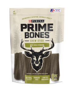 Prime Bones Rawhide-Free Small Dog Chew Stick With Wild Venison