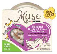 Muse Natural Chicken & Ocean Fish Recipe In Broth with a Bonito Topper + Essential Nutrients