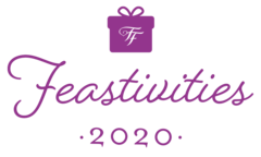 Purple gift icon over feastivities 2020