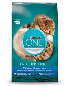 Purina ONE Grain Free Ocean Whitefish dry cat food product image with bowl of cat food