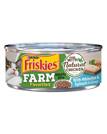Friskies Farm Favorites Meaty Bits With Whitefish & Spinach in Gravy Wet Cat Food