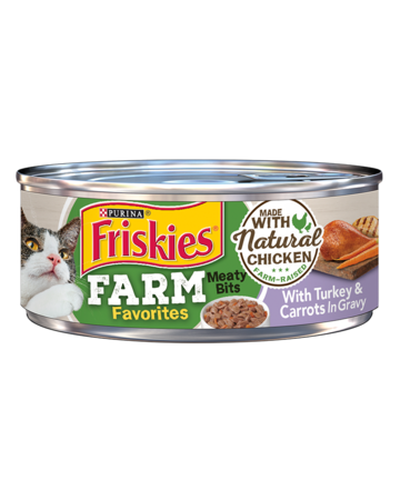 Friskies Farm Favorites Meaty Bits With Turkey & Carrots in Gravy Wet Cat Food