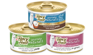 Fancy Feast natural wet products stacked