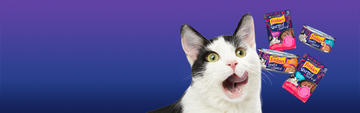 Purple Header Friskies Stuf'd & Sauc'd and Warm'd & Serv'd Wet Cat Food