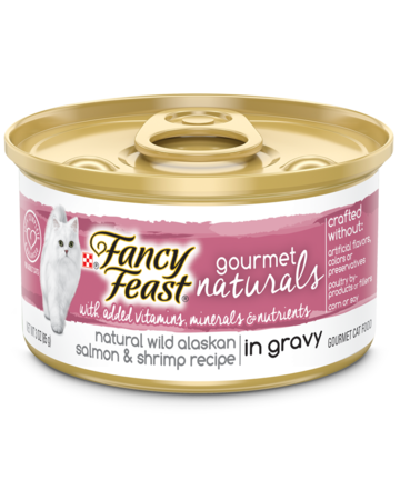 Fancy Feast Gourmet Naturals Wild Alaskan Salmon & Shrimp Wet Cat Food in Gravy with Added Vitamins, Minerals and Nutrients