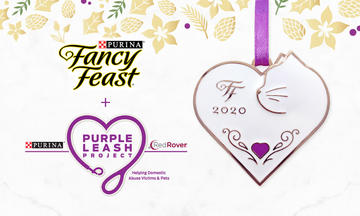 Fancy feast logo next to feastivities white heart and purple leash logoornamant