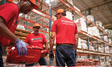 Purina employees working together in the manufacturing process