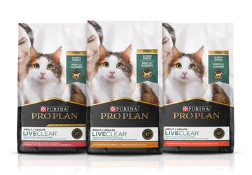 Three bags of ProPlan Live Clear Cat Food