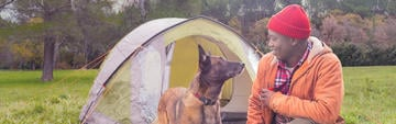 Man camping with dog outdoors feeding quality pet food
