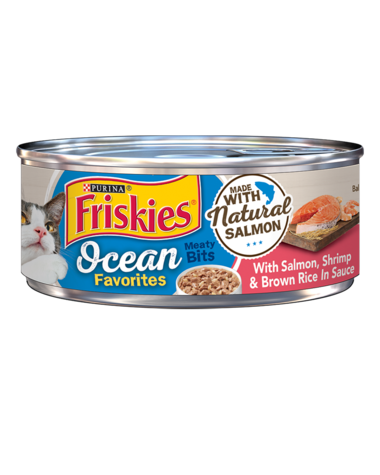 Friskies Ocean Favorites Salmon, Shrimp & Brown Rice in Sauce Wet Cat Food