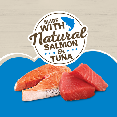 made with natural tuna and salmon