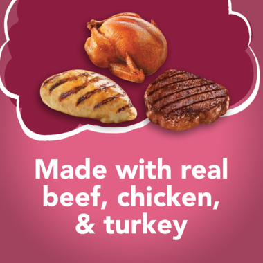 Made with real beef chicken and turkey