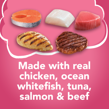 Made with real chicken ocean whitefish tuna salmon and beef