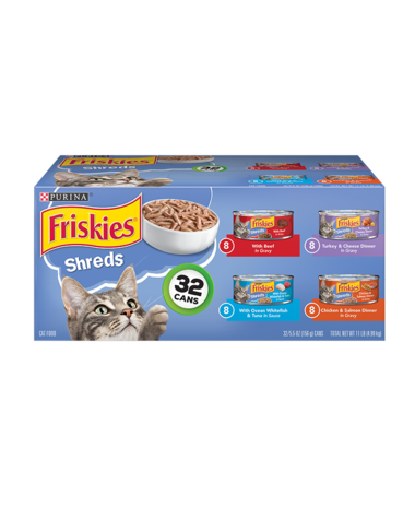 Friskies Shreds Wet Cat Food Variety Pack 32 Count