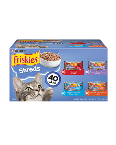 Friskies Shreds Wet Cat Food Variety Pack 40 Count