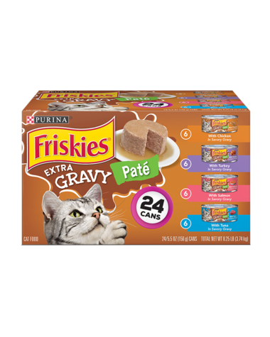 Friskies Extra Gravy Pate Wet Cat Food Variety Pack 24Ct