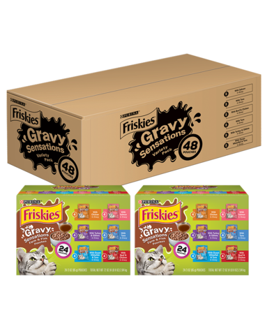 Friskies Gravy Sensations Pouches Wet Cat Food Variety Pack 48 Count