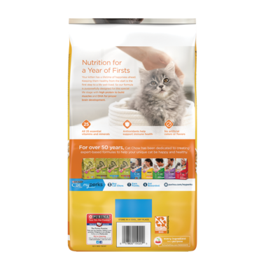 Back of Kitten Chow package