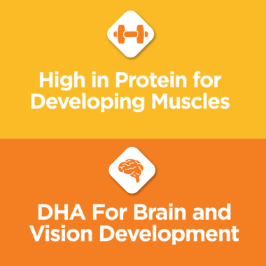 Cat food includes protein and DHA for development.