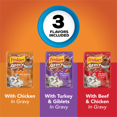 Friskies Gravy Sensations Poultry Pouches Wet Cat Food Variety Pack 12 Count