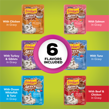 Friskies Gravy Sensations Farm & Fish Pouches Wet Cat Food Variety Pack 24 Count