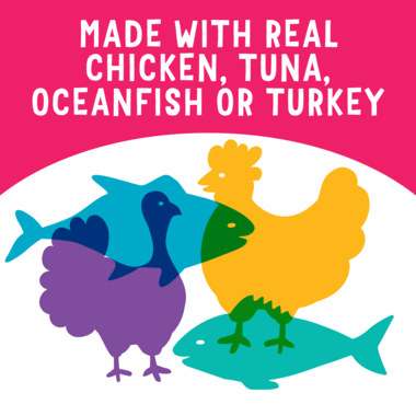 made with real chicken, tuna, oceanfish or turkey