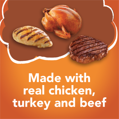 Made with real chicken turkey and beef