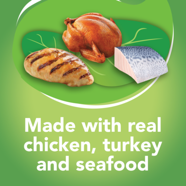 Made with real chicken turkey and seafood