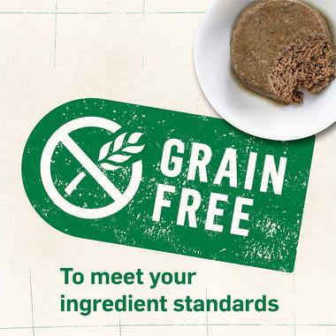 Grain free label next to cat food on plate