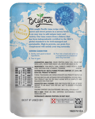 Beyond Pacific Tuna Dog Food Complement - back